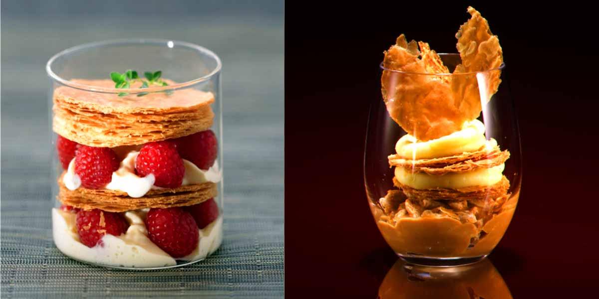 Dessert Zubereitung von Elle & Vire und andere Creme Brulee, Creme mit Valrhona Schokolade, Panna Cotta Basis