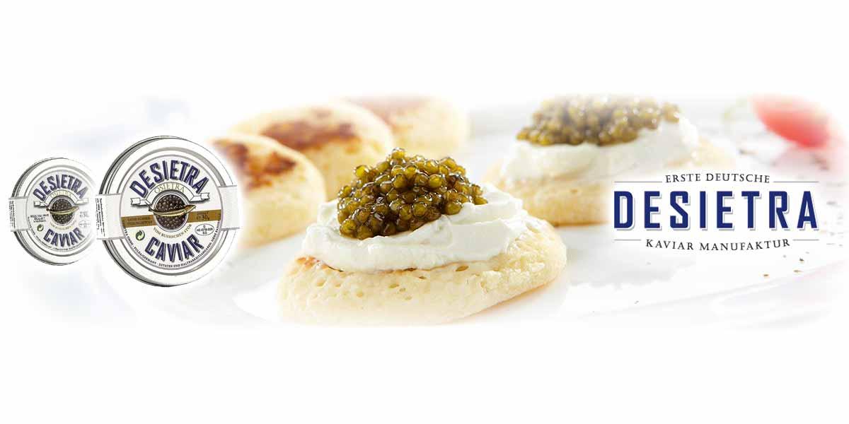 DESIETRA Stör Kaviar Seit 2002 ist Desietra die erste deutsche Kaviar-Manufaktur mit einer Kaviar-Produktion von circa 11t im Jahr. Zahlreiche Zertifikate bestätigen die Qualität der Desietra Produkte.