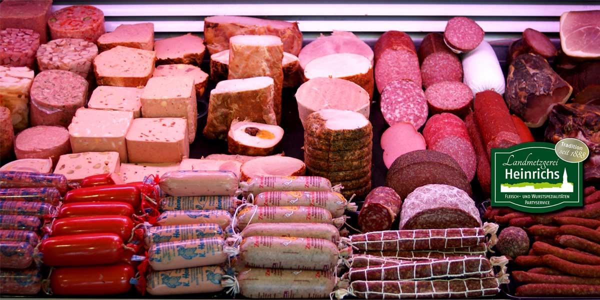 Frische Wurstwaren der Landmetzgerei Heinrichs Hier finden Sie eine Vielzahl von Wurstwaren. Von der klassischen Salami, über Schinken, Pasteten, hier ist für jeden Wurstfan etwas dabei.